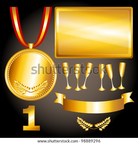 EPS 10: Great sports and games related objects withfirst position gold medal, ribbon and position number