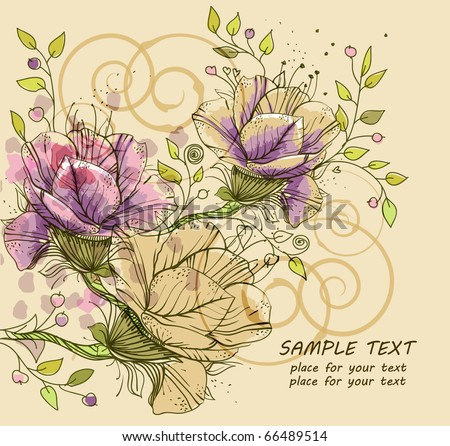 eps10 hand drawn background with fantasy flowers and plants