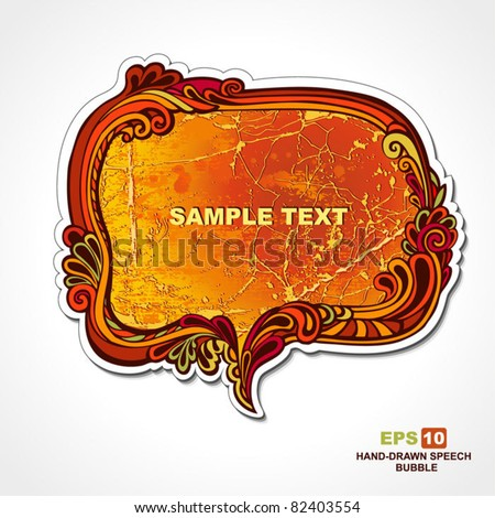 EPS 10, hand-drawn retro style, autumn theme, speech bubble with floral elements for decoration and design
