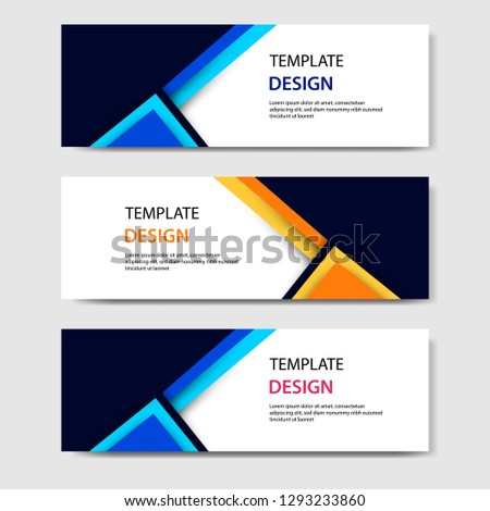 EPS 10 Horizontal business corporate banners with 3D abstract paper cut style. Vector design layout for web, banner, header, print flyers. Colorful carving art, blue, orange, black in white background #1293233860