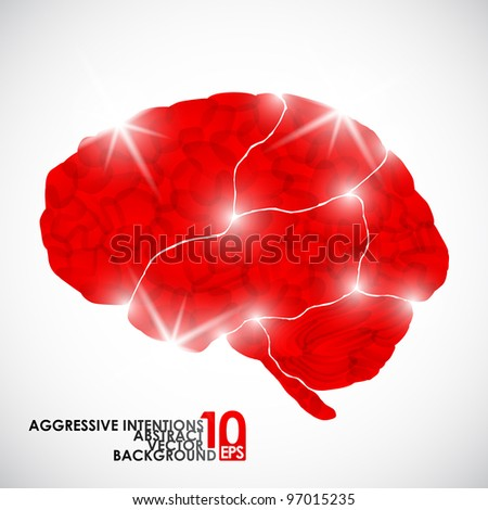 eps10, human brain, aggressive intentions, vector abstract background