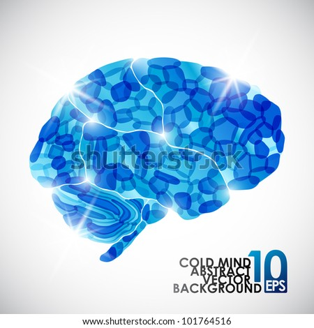 eps10, human brain, cold mind, vector abstract background