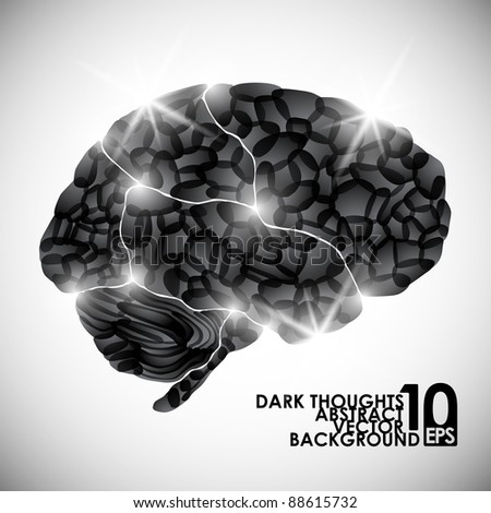 eps10, human brain, dark thoughts, vector abstract background