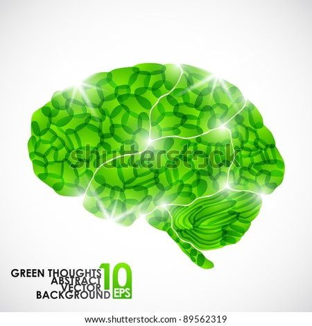eps10, human brain, green thoughts, vector abstract background