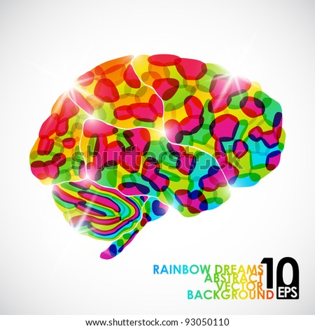 eps10, human brain, rainbow dream, vector abstract background