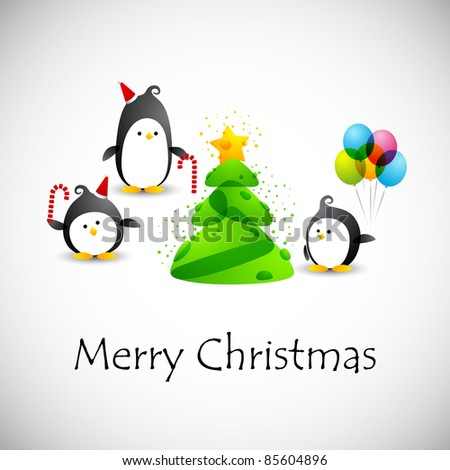 eps10, merry christmas, funny penguins near the christmas tree with star - stock vector