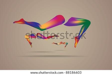 eps10 multicolor rainbow woman legs - illustration