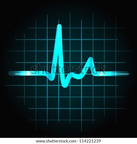EPS 10: Normal heartbeat sinus wave with light effects, perfect for fitness, cardiovascular healthcare or others.