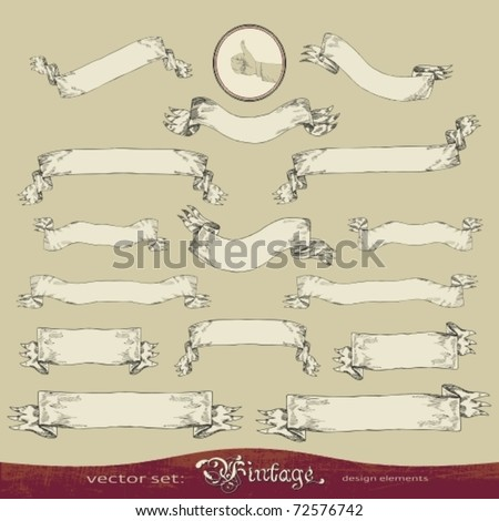 EPS10,  Old banner vector set for decoration and design