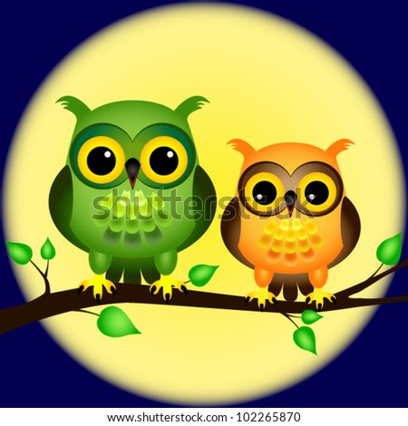 EPS 10: Pair of fun cartoon owls perched on branch on a night with full moon behind them.