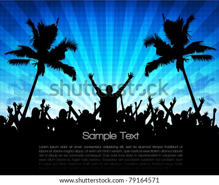 EPS10 Party People Vector Background - Dancing Young People at Summer