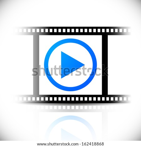 Eps10 play button on film strip. Fading reflection, right, left sides of the graphic