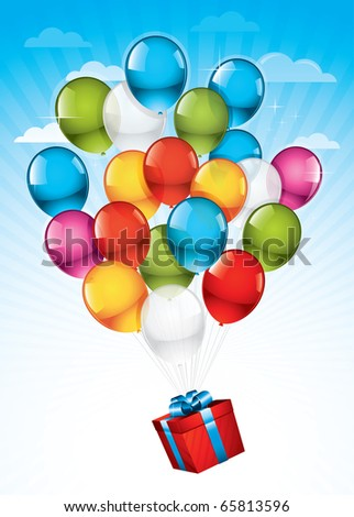 EPS10: Red gift box carried towards the sky by colorful balloons