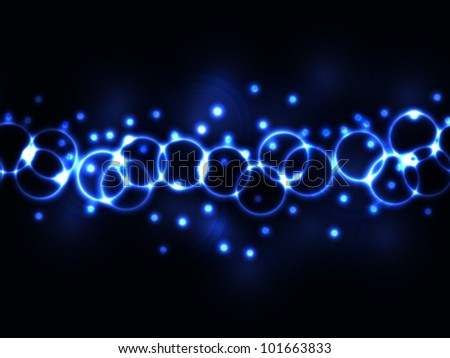 EPS 10: Seamless graphic and dynamic blue neon or plasma glowing rings and light effects as border or wallpaper