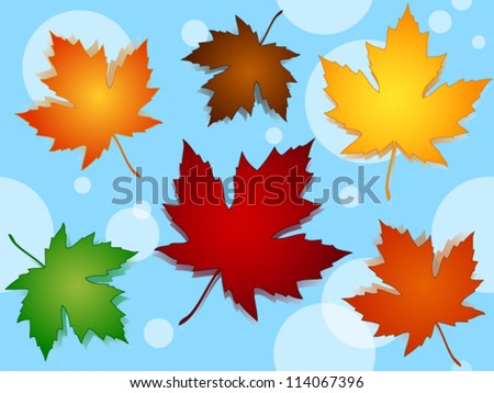 EPS 10: Seamless pattern of beautiful maple leaves in seasonal fall or autumn colors over blue background with transparent dots or circles.