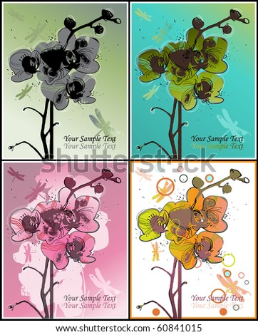 eps10 set of 4 backgrounds with blossoming orchids