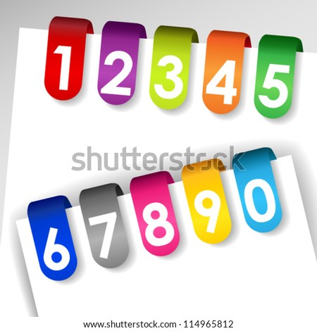 EPS 10: Set of colorful file or paper tags with shadows and numbers, perfect for filing system, medical or legal records.
