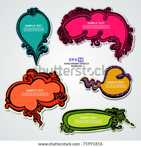 EPS10, Set of hand-drawn multicolored speech bubbles with floral elements for decoration and design (stickers elegant collection)