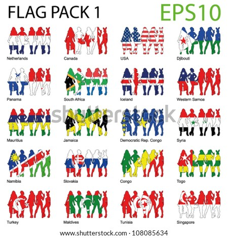 EPS10 Sexy Woman World Flags - Pack 1
