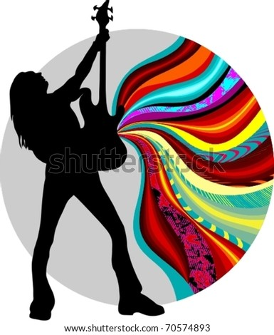 EPS 10, silhouette of a singer on the background - stock vector
