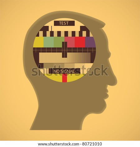 eps10 tv color test in human head - abstract illustration
