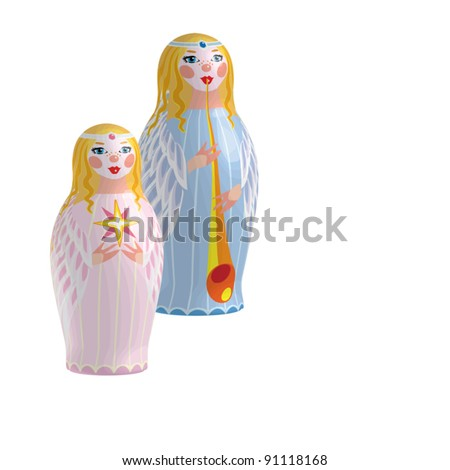 EPS10/ Two angel with a trumpet and the Christmas star - matryoshka dolls