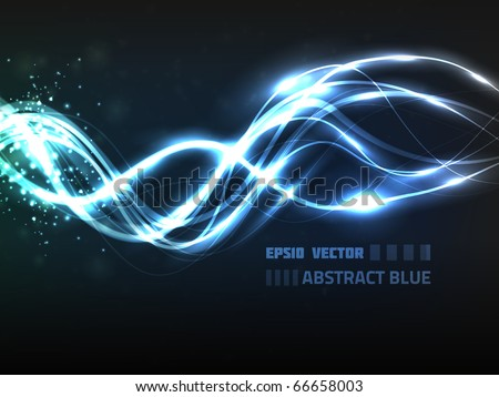 EPS10 vector abstract blue line design on background with slight texture. Composition has bright lights and blurry particles. - stock vector