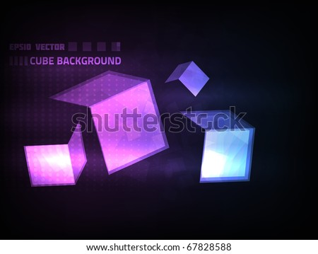 EPS10 vector abstract cube background against dark background. Colored in violet and blue