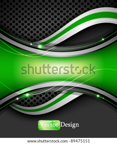 Eps10 Vector Abstract Digital Background with Green Wave Design