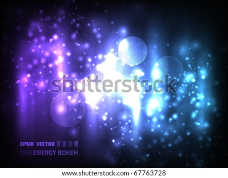 EPS10 vector abstract energy bokeh design against dark background; composition is colored in shades of violet and blue