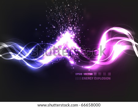 EPS10 vector abstract energy explosion on background with slight texture; composition has bright blurry lights