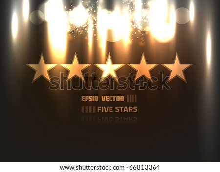 EPS10 vector abstract five stars design against black background; composition has bright lights and blurry particles - stock vector