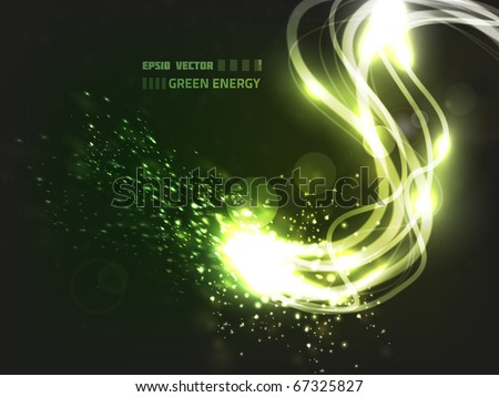 EPS10 vector abstract green energy design against dark background; composition has bright lights and particles - stock vector