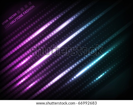 EPS10 vector abstract halftone fashion pattern against dark violet and blue background; composition has very bright lights