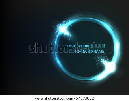 EPS10 vector abstract hi-tech frame against dark background; composition is colored in shades of blue and violet - stock vector