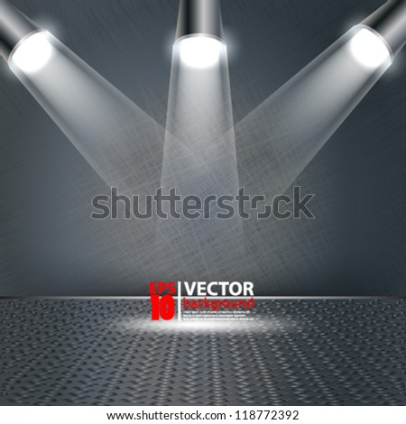 eps10 vector abstract metallic background with spot light and stage - stock vector