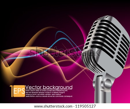 eps10 vector abstract microphone with elegant wave background - stock vector