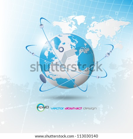 eps10 vector abstract network concept design with detailed map - stock vector