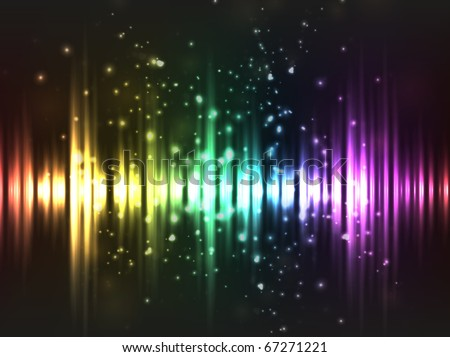 EPS10 vector abstract rainbow equalizer wave design against dark background; composition has bright lights and particles