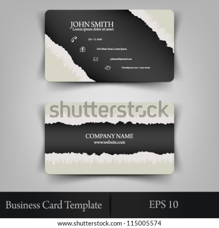 eps10 vector abstract realistic torn paper business card template concept design