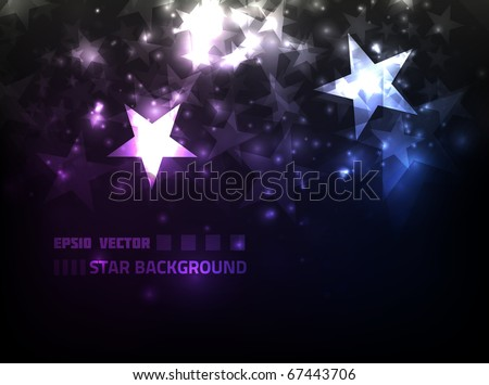 EPS10 vector abstract star background design against dark background; composition is colored in shades of violet and blue
