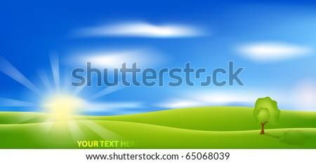 EPS 10 vector background. Summer landscape with green grass, blue sky, tree and sun.