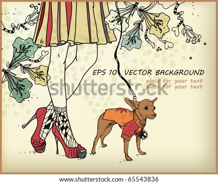 eps10 vector background with a  little dog and lovely female legs