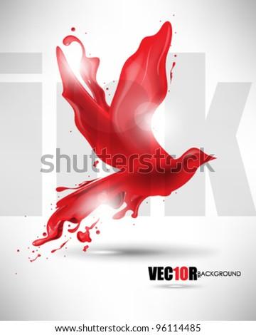 eps10 vector bird ink splat