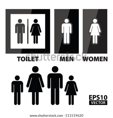 Image of: Men S Bathroom Sign Vector Intended Eps10 Vector Black Square Toilet Sign With Toilet Men And Women Text Vector Images Illustrations Cliparts