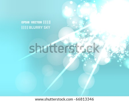EPS10 vector blurry sky design on light blue background. Composition is very bright with bokeh effect.