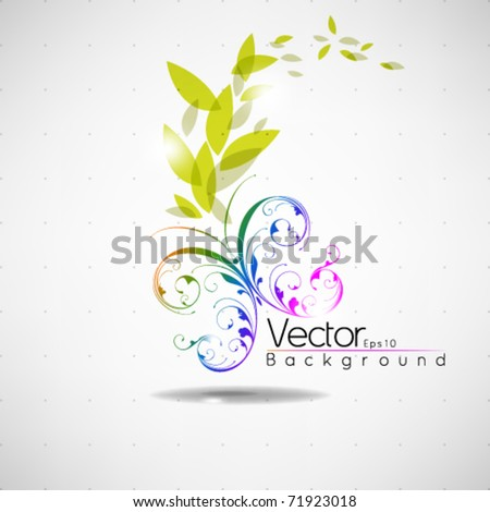 eps10 vector butterfly with leaves background design