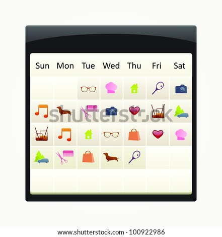 eps10 vector calendar with to-do icon set