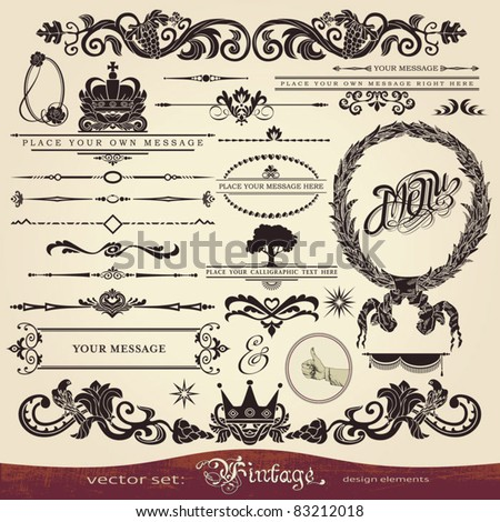 EPS 10,Vector calligraphy set: vintage style, ornate design ornaments and page decoration (creative patterns)