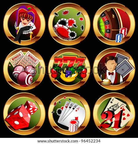 eps8 vector casino or gambling icons set.